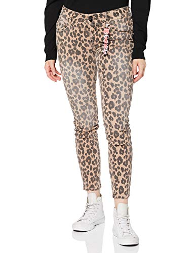 Street One Damen Style York Slim Fit Jeans, Natural Leo Print, W33/L30