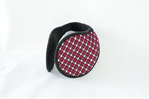 TPOS イヤーマフ 耳あて 耳カバー シンプル コンパクトなイヤウォーマー チェック柄 6色 (赤×白)