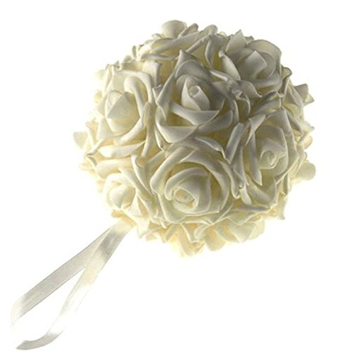 """Homeford FNS008562IVY Soft Touch Foam Kissing Ball Wedding Centerpiece, 6"""", Ivory"""