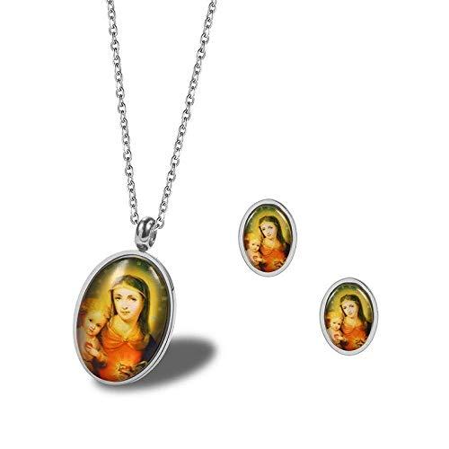 Persoonlijke accessoires, Kettingen, Goud met Jezus Hanger Ketting Oorbel Set Religieuze Sieraden in roestvrij staal Beste Kerstmis, Thumby ZILVER