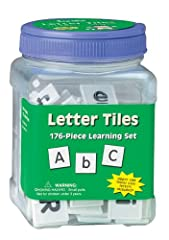 "1 tub containing 176 Letter tiles Counters approximately 1"" Black letters printed on white plastic Reusable plastic storage tub with screw-top lid 176 tiles included - 88 upper-case, 88 lower-case"