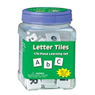 Eureka Tub Of Letter Tiles Back to School Classroom Supplies Educational Toy, 1'' x 1'' tiles, 176 pc