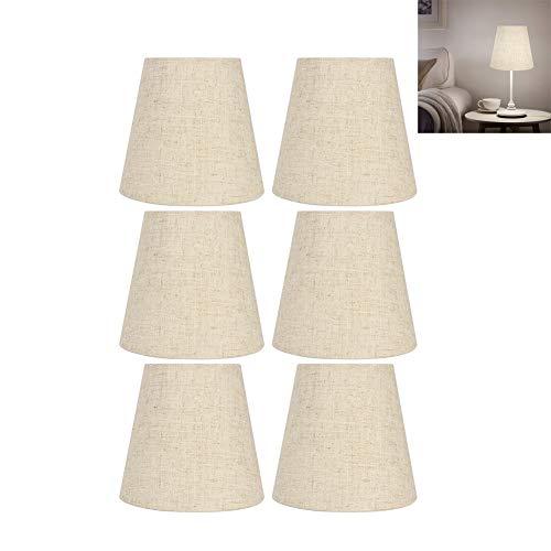 HERCHR 6 Piezas de reemplazo de Pantallas de lámpara de Lino, Pantallas de lámpara pequeñas para lámparas de Mesa, lámpara de Pared, lámpara de araña, Clip en Pantalla, 3,5 x 5,5 x 5 Pulgadas