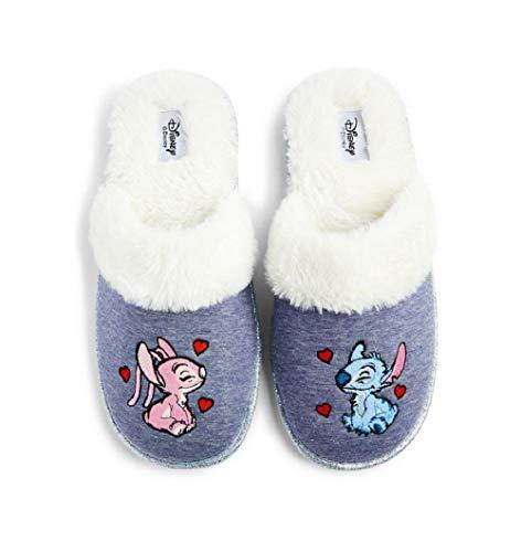 Disney Lilo & Stitch Chaussons mules pour femme Motif ange Gris Blanc Taille S
