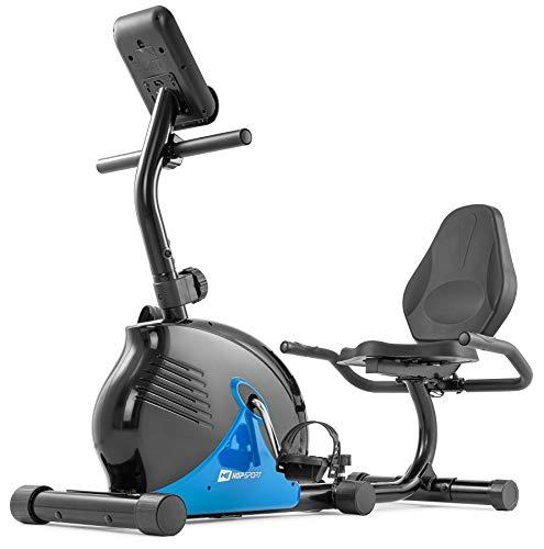 Hop-Sport Liegeergometer 030L Rapid - Liegeheimtrainer mit Handpulssensoren, Trainingscomputer, 8 Widerstandsstufen - kompakter Sitzergometer für das Ganzkörpertraining zu Hause blau