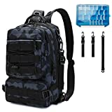 Thekuai Fishing Tackle Backpack Storage Bag, Outdoor Shoulder Backpack, Large Water-Resistant Fishing Gear Bags with Rod Holder Shoulder Backpack and a Sturdy Fishing Tackle Box