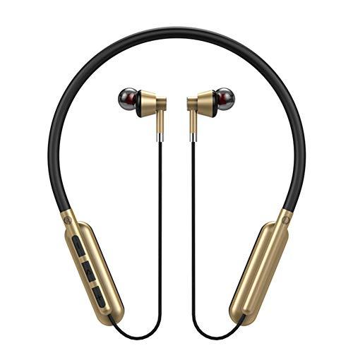litty089 Auriculares in-ear magnéticos Bluetooth 5.0 Music TF tarjeta auriculares inalámbricos deporte auriculares dorado