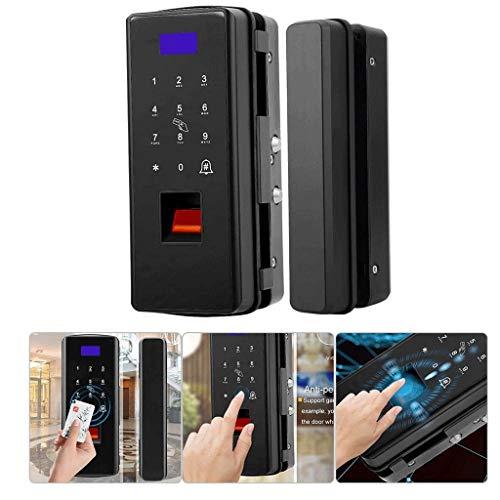 JJZXT Sin Taladro, Cierre magnético de Seguridad biométrico de Huellas Dactilares for la Puerta de Cristal, contraseña de Bloqueo de Puerta con Tarjetas IC (Color : Black)