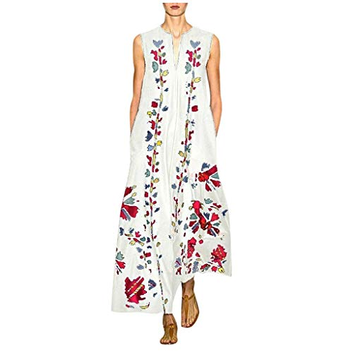 Damen Sexy Maxi Kleid Frauen Kleider Damen Sommer Knielang Blumenmädchen Kleid Strandkleid Damen Kurz Shein Kleid Sommerkleider Damen Knielang Elegante Kleider Damen(Weiß,2XL)