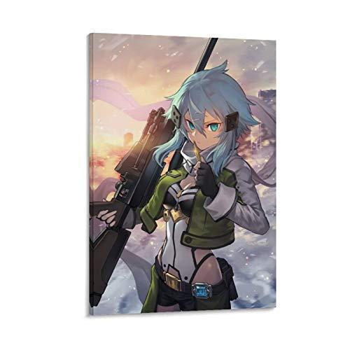 Anime Sword Art Online Sinon Poster, dekoratives Gemälde, Leinwand, Wandkunst, Wohnzimmer, Poster, Schlafzimmer, Gemälde, 40 x 60 cm