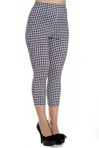 Pantalones Piratas de Hell Bunny Judy A Cuadros de estilo vintage de los 50s - Negro & Blanco (XL - ES 44)