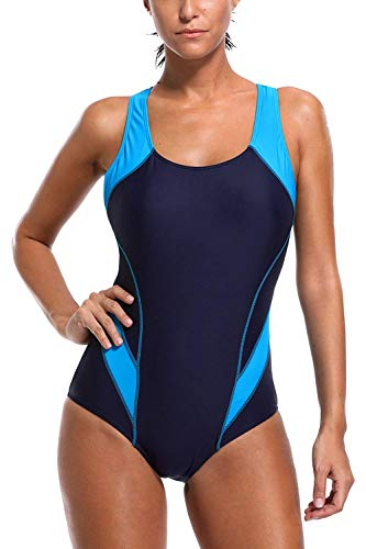 Womens Chlorine Proof one Piece Swimsuits Work Out Bathing Suits pro Lap Swimwear Navy/Aqua