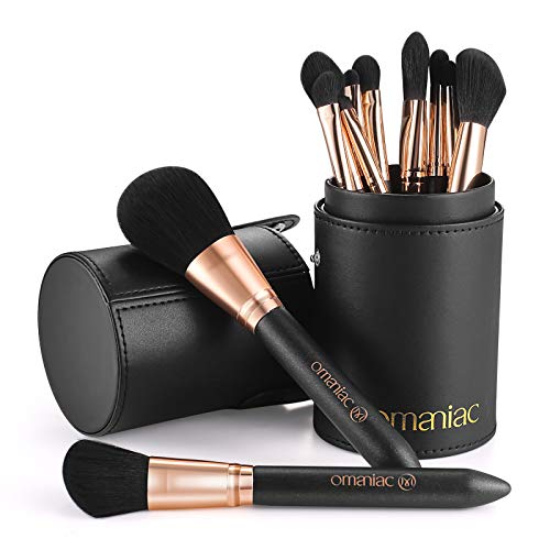 OMANIAC Professional Makeup Brushes Set (12Pcs), Pearl Flash Handles, Comfortable To Hold And Easy To Use, Eyeshadow, Blush, Blending, Full Face Cosmetic Kit With Brush Holder