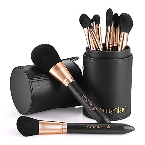 OMANIAC Ensemble de Pinceaux de Maquillage Professionnel (12Pcs) Poignées Perlées Confortable à tenir et Facile à Utiliser Fard à Paupières Fard à Joues Mélange Cosmétique Complet avec Porte-Pinceau