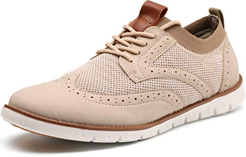 JOOMRA Men's Knit/Leather Wingtip Oxford Dress Shoes Lightweight Breathable Casual Sneakers for Male Restaurant Size 12 Classic Perforated Fashion Business Lace up Zapatos de Hombre Formal Beige 46