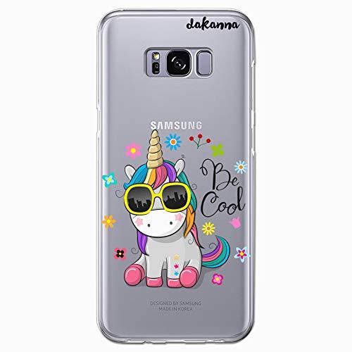 dakanna Funda para Samsung Galaxy S8 Plus | Unicornio con Gafas Frase: Be Cool | Carcasa de Gel Silicona Flexible | Fondo Transparente