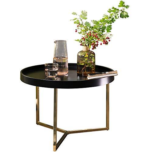 FineBuy Couchtisch 58,5x42x58,5cm Sofatisch Metall Rund | Designer Retro Wohnzimmertisch modern | Kleiner Loungetisch mit Metallgestell | Runder Tabletttisch mit Holz-Platte