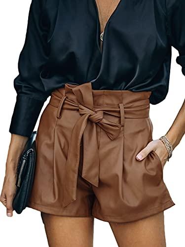 Uusollecy Shorts Damen Leder High Waist, Damen Paperbag Waist Kunstleder Shorts, Casual Wide Leg PU Leder Kurze Hose Für Frauen Teen Girls Braun XL