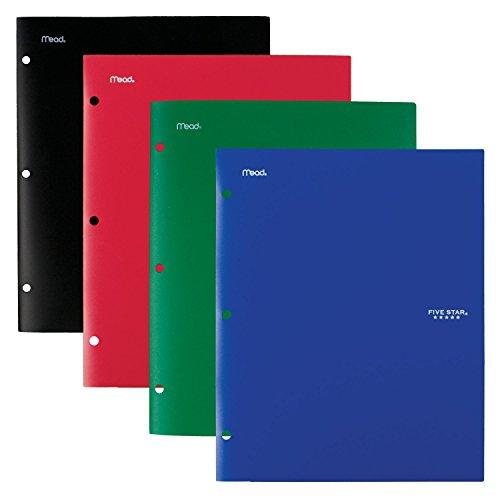Five Star 4 Pocket Folders, Plastic, Folders with Pockets, Black, Blue, Red, Green, 4 Pack (38083)