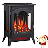 Joy Pebble Compact Electric Fireplace Heater, Freestanding Stove Heater with Realistic Flame - ETL Certified - Overheating Protection Small Spaces Heater - 1000/1500W (16.3' W x 22.8' H)