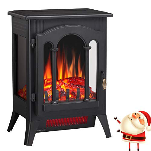 """Joy Pebble Compact Electric Fireplace Heater, Freestanding Stove Heater with Realistic Flame - ETL Certified - Overheating Protection Small Spaces Heater - 1000/1500W (16.3"""" W x 22.8"""" H)"""