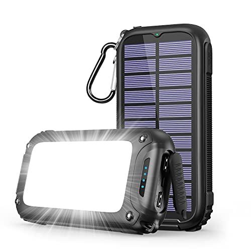 A ADDTOP Cargador Solar 26800mAh Power Bank Solare Portatil con 32 Leds Luce Batería Externa con 3 Puertos para iPhone, iPad, Samsung Galaxy, Huawei, LG y más