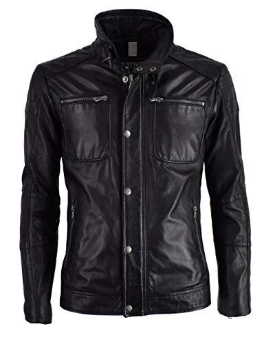 Herren Lederjacke Premium Männer Lammnappa echt Leder Jacke James Coco Black Label, Größe:58, Farbe:Schwarz