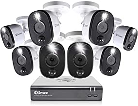 Swann Home Security Camera System, 8 Channel 8 Bullet Cameras, 1080p HD DVR, Indoor/Outdoor Wired Surveillance CCTV, Night Vision, Motion Sensor Lights, Alexa + Google, 1TB Hard Drive, SWDVK-845808WL