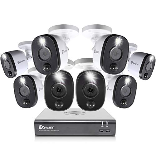 Swann Home Security Camera System, 8 Channel 8 Bullet Cameras, 1080p HD DVR, Indoor/Outdoor Wired Surveillance CCTV, Night Vision, Motion Sensor Lights, Alexa + Google, 1TB Hard Drive, SWDVK-845808WL