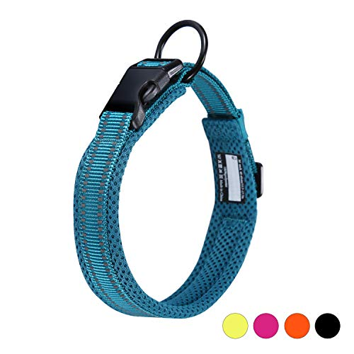 kaka mall Hundehalsband Verstellbare Nylon Hunde Halsband Atmungsaktives Reflektierend Halsband (Xs:Länge 30-35cm, Blau)