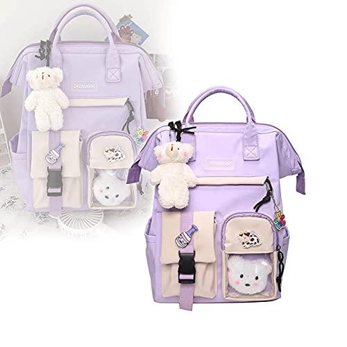 ZQdghUH Mochila Linda Mochila Kawaii, Mochila Kawaii de Nylon para Mujer, Mochilas de Escuela Secundaria de Colores Dulces Impermeables Mochila Linda, Mochila Escolar, Purple