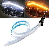 QasimLed 2-Pack 45cm Coche Flexible DRL LED Strip Luces de circulación Diurna con guía secuencial Luz de señal de Giro para la luz Delantera Blanca y Amarilla a Prueba de Agua