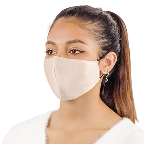 Mulberry Silk Face Mask Reusable - Women & Men, 10 Filters Included, Washable Beige