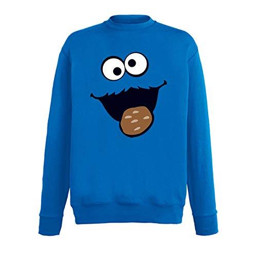 Jimmys Textilfactory Sweatshirt Krümelmonster mit Keks Karneval Kostüm Sesamstraße Herren 116-5XL Gruppen-Kostüm Rosenmontag Party Feier, Größe:3XL, Farbe:Royalblau