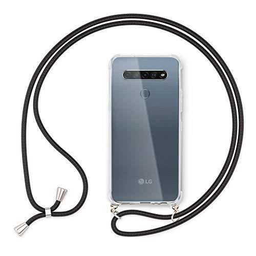 NALIA Handyhülle mit Kette kompatibel mit LG K61 Hülle, Slim Necklace Silikon Hülle mit Umhänge-Band, Transparente Schutzhülle und Handy-Schnur, Soft Kordel Cover Etui Durchsichtig, Farbe:Schwarz