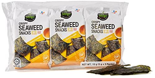 BIBIGO - Snack Crujiente de Algas con Sésamo, Aperitivo Coreano, Alga Crujiente, Sabor a Sésamo, Sin Gluten - 3 x 5g