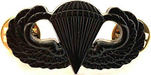 DEURA US Army Airborne Parachutist Paratrooper Jump Wings Insignia Pin Black Subdued Badge 1 1/2'