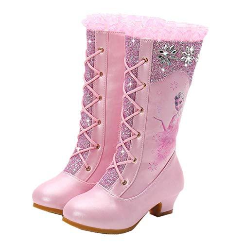 LOBTY Mädchen Stiefel Ballerina Prinzessin Absatz Schuhe Hohe Stiefel Weihnachtsfeiertags Stiefel Hochzeit Winter Festlich für Kinder Gefrorene Schneepailletten