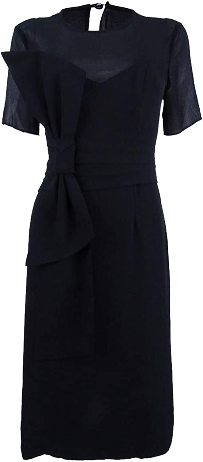 Fame And Partners Womens Mesh Yoke Bow Front Special Occasion Dress Black 6