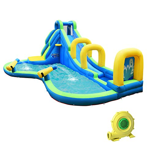 HONEY JOY Inflatable Water Slides, Kids Jumping Bounce House w/2 Water Cannons & Hose, Long Slides with Arch, Climbing Wall & Splash Pool, Outdoor Blow Up Water Park for Backyard (with 750w Blower)