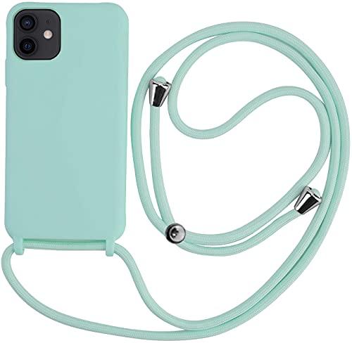 PLANETMOVIL Funda Premium con Cuerda para iPhone 12/12 Pro (6.1 Pulgadas) Carcasa Candy con Colgante Cordón (Verde Esmeralda)