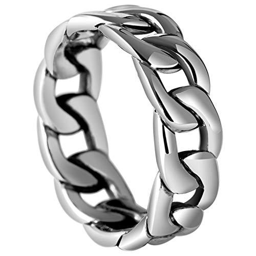 AmDxD 925 Sterling Silber Ringe für Herren Hohl Panzerkette 6mm Verlobungsringe Silberring Heiratsantrag Ring Silber Gr.63 (20.1)