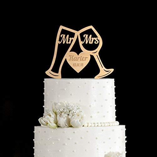 JeremyHar75 Bierglas Hochzeit Kuchen Topper, Weinglas Hochzeit Kuchen Topper, personalisierter Nachname und individuelles Datum