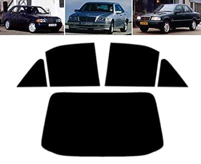 Film Solaire Prédécoupé Teinté pour-Mercedes C Class W202 4-Portes Berline 1993-2000 Vitres Arrière & Lunette (35% Noir Fumé Moyen)