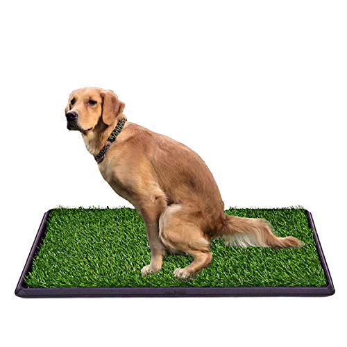 "30""x20"" Fake Grass Potty Pad Artificial Grass Trainer Portable Dog Turf Dog Grass Pad with Tray, 3 Layered System"