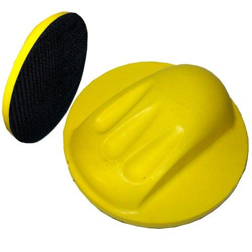 1 Handschleifer 150mm gelb rund Schleifklotz für Autolack Excenterschleifpapier