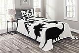 ABAKUHAUS Dinosaurier Tagesdecke Set, Alt Wilde Skeleton, Set mit Kissenbezug Klare Farben, für Einzelbetten 170 x 220 cm, Schwarz weiß