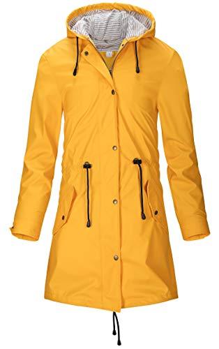 SWAMPLAND Damen PU Regenjacke Mit Kapuze Wasserdicht Übergangsjacke Regenmantel, Gelb, Gr.- 36 EU/ XS