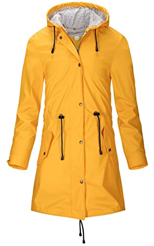 SWAMPLAND Damen PU Regenjacke Mit Kapuze Wasserdicht Übergangsjacke Regenmantel, Gelb, Gr.- 40 EU/ Medium