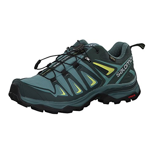 Salomon Women's X Ultra 3 GTX Hiking Shoes, ARTIC/Darkest Spruce/Sunny Lime, 8